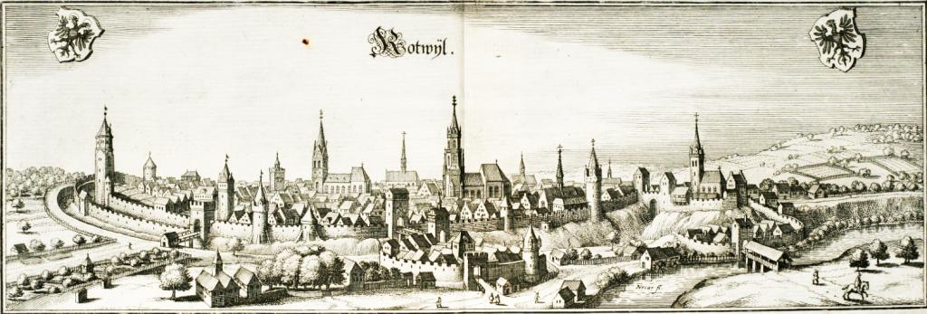 Wenige Monate vor den dramatischen Ereignissen im 30-jährigen Krieg, fertigt Matthäus Merian, 1643 in seiner Basler Werkstatt eine Ansicht Rottweils. Gut erkennbar sind die Rottweiler Türme, die Stadtbefestigung sowie die Au- und die Hochbrücktorvorstadt.